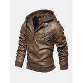 Mens Fashion PU Hooded Zipper Jacket Warm Thick Leather Coat