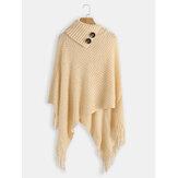 女性ソリッドボタン不規則な裾ショールタッセルセーター