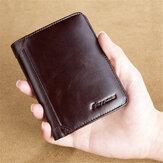 Männer RFID Blockieren Sichere Geldbörse Moderne Vintage Geldbeutel Echtleder Dreifachfaltung Brieftasche
