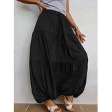 Women Casual Pleated Solid Color Elastic Waist Skirts