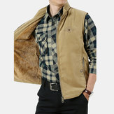 Mens Outdoor Zipper Solid Color Thickened Warm Fishing Vest