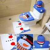 Santa Claus rutschfeste Startseite Badezimmer Toilettensitz Bestickte Badabdeckungen Teppich Weihnachtsschmuck Dekor