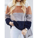 Plus Size Kontrastfarbe Splice Fleece Warm Sweatshirt