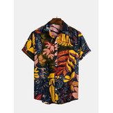 Mens Summer Vacation Lässige Blumendruck Hawaiian Shirts