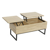 Foldable Coffee Table Laptop Desk with 2 Grids Sturdy Storage Shelves Bookshelf for Office Home Living Room Bedroom