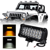 7 Inch 72W LED Work Light Bar Dual Color Strobe Flash Driving Fog Lamp White+Amber Waterproof for Offroad SUV ATV Truck