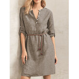 Plus Size Women V-neck Button Casual Slim Vintage Dress