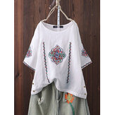 Women Vintage Embroidery Side Button Short Sleeve T-shirts