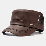 Men's Leather Flat HatS Casual With Knit Hats Warm Hats