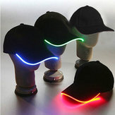 LED Light Glow Club Party Sports Athletic Black Fabric Travel Hat Cap Decorations
