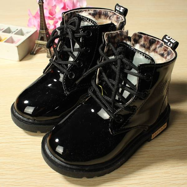 Baby Children Martin Boots Fur Leather Candy Snow Shoes