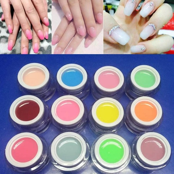 12 Colors Nail Art Jelly Extend UV Gel Varnish Extension Builder Manicure Glue