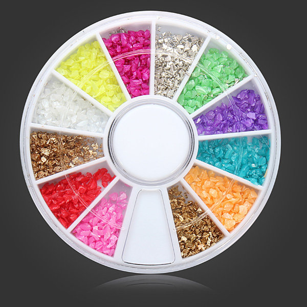 12 Colors Shell Powder DIY Nail Art Decoration Wheel