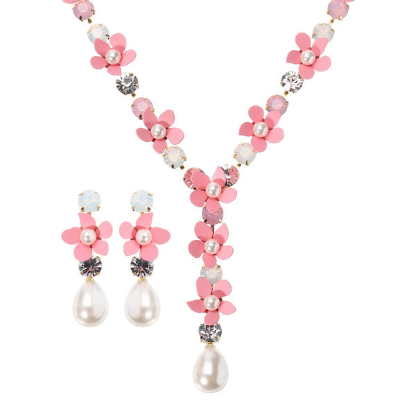 JASSY Pink Flower Pearl Necklace Earring Jewelry Set Women Jewelry for Wedding Accessories
