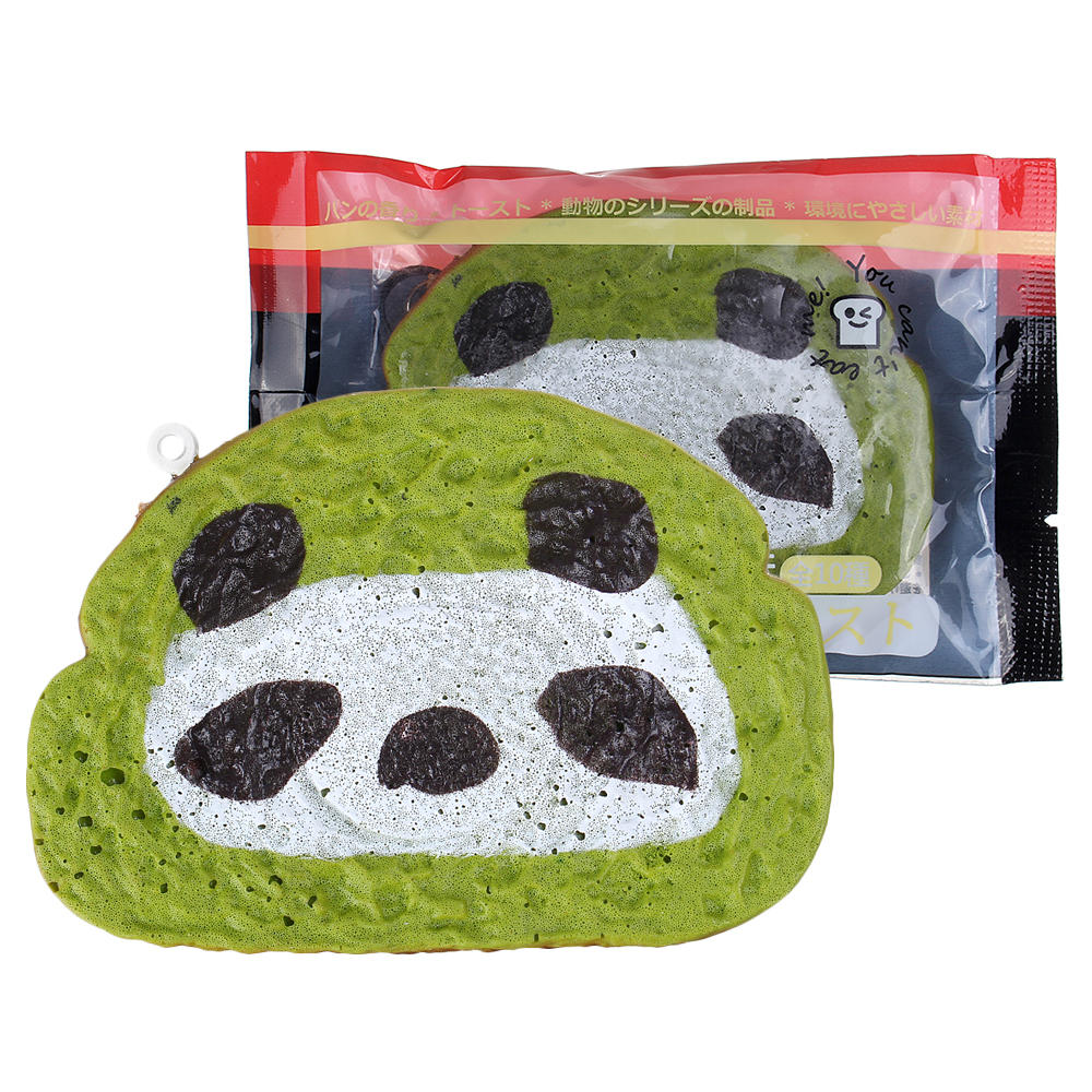 Bread Squishy Green Tea Toast 8.5*6*1CM Animal Cartoon Squeeze Toys Gift Collection With Packaging