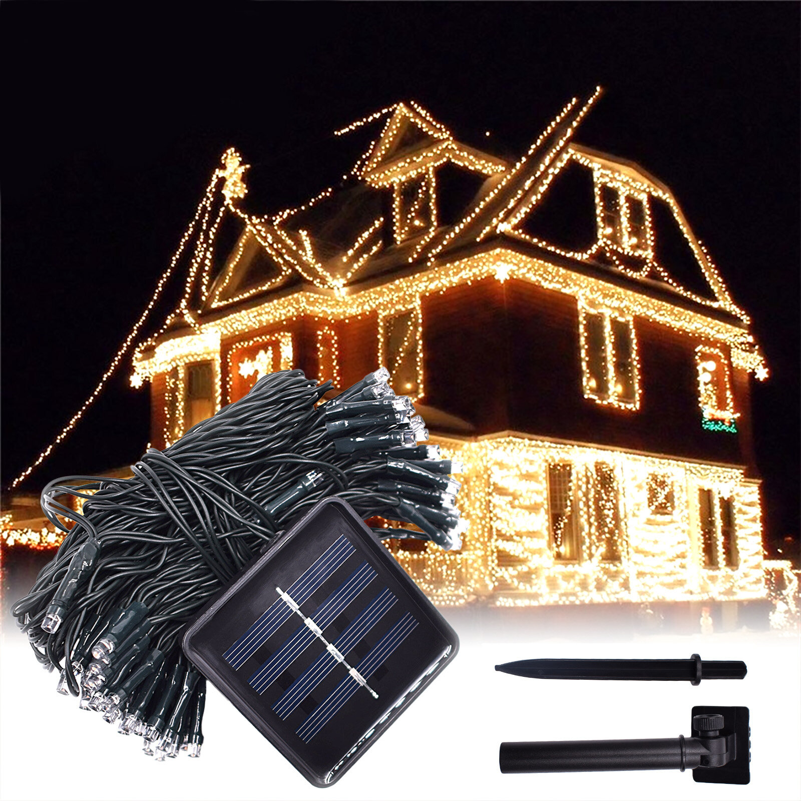 12M 100LED Solar Powered Fairy String Light Christmas Holiday Party Outdoor Garden Decor