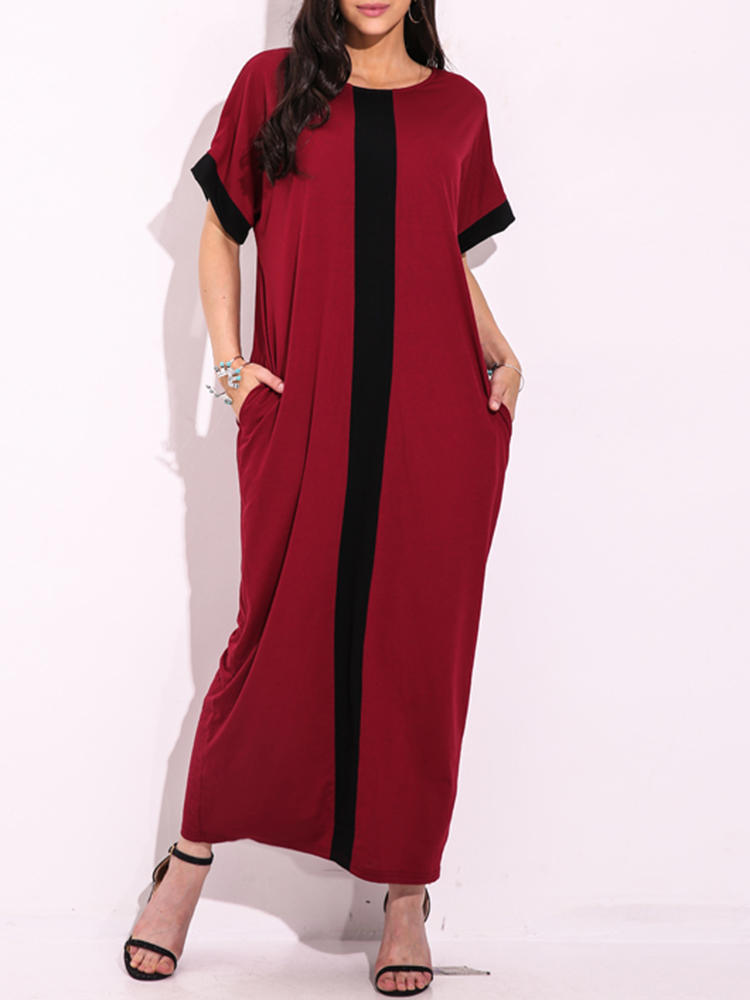 Women Casual Contrast Panel Stripe Scoop Neck Maxi Dress With Pocket