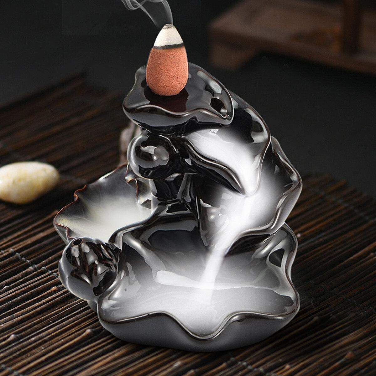 Backflow Tütsü Koni Brülör Tutucu Seramik Lotus Akışı Kokulu Duman Geri Akış Ev Censer Dekor