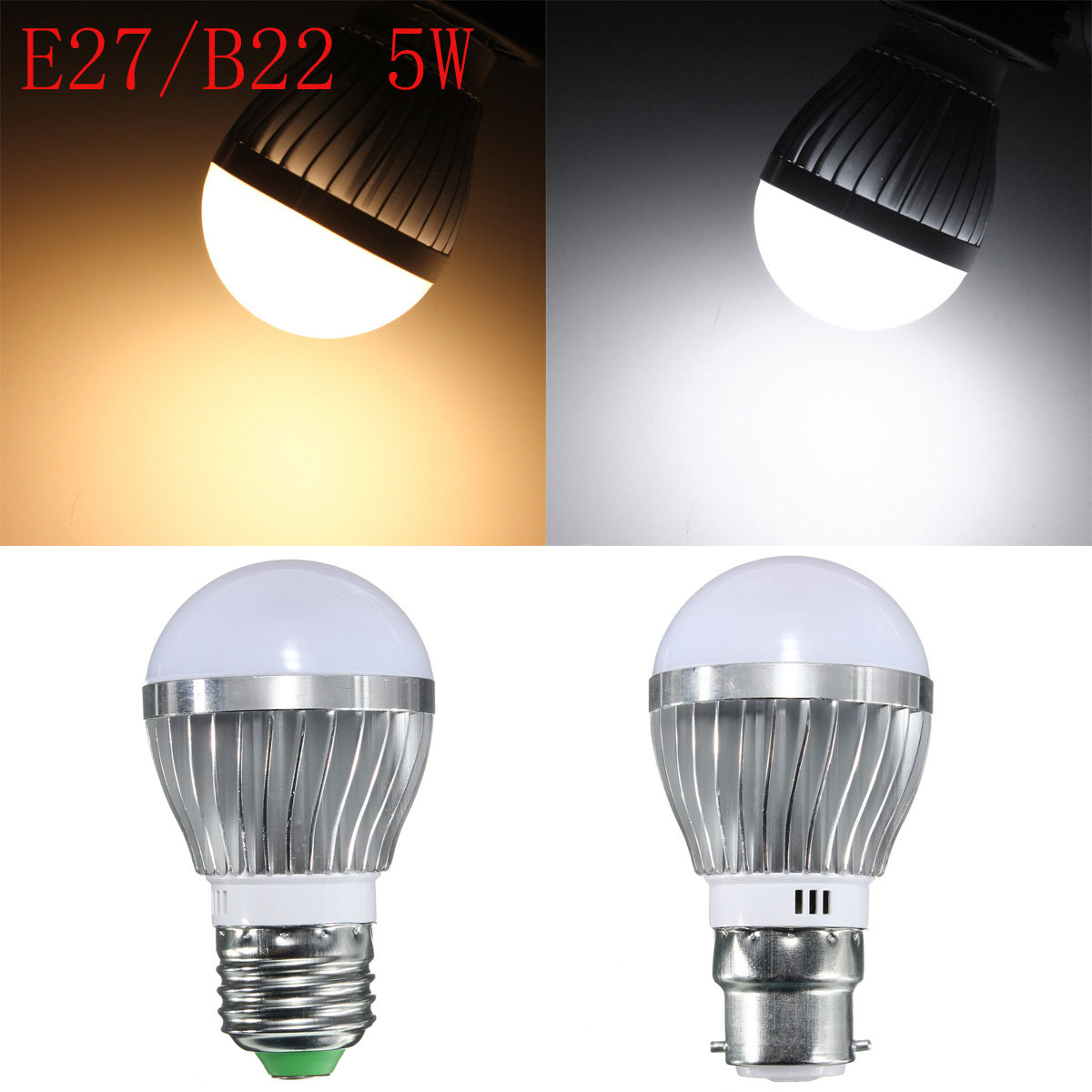E27 B22 5W Dimmable 6 SMD5730  LED Bayonet Edison Bulb Lamp Globe Light Warm White AC 110-240V