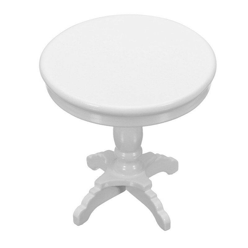 1 12 Dollhouse Miniature Furniture Wooden Round Coffee Table White Kids Home Game