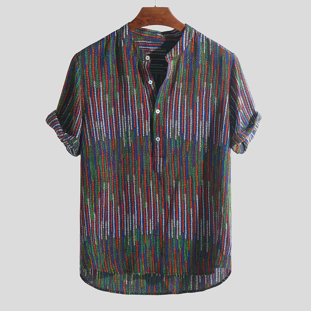 Erkek Etnik Stil Baskılı Colorful Şerit Gevşek T-Shirt Standı Yaka Henley Gömlek