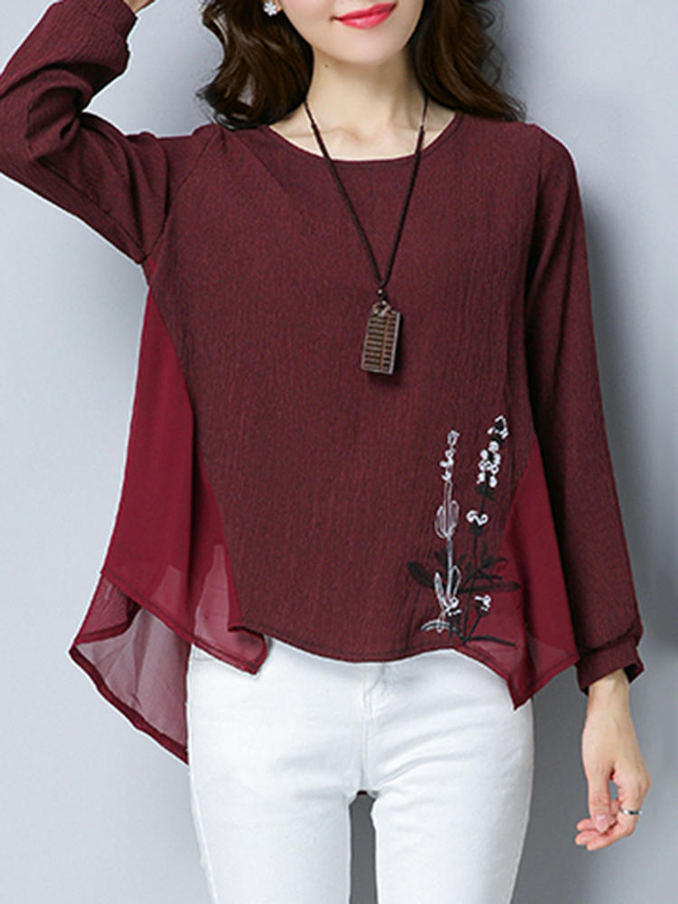 Casual Women O-Neck Long Sleeve Embroidered Mesh Patchwork Blouse