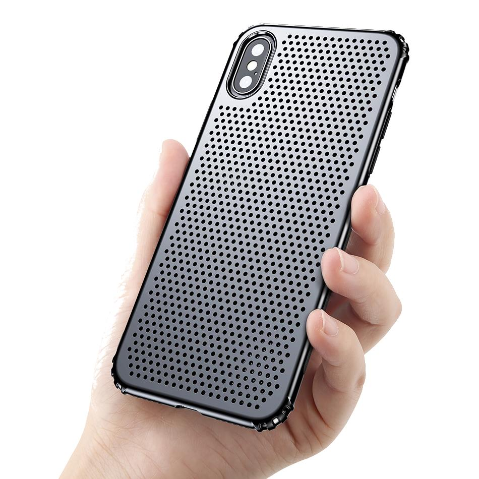 Baseus Airbag Heat Disipation Soft TPU Hard PC Caso para iPhone X