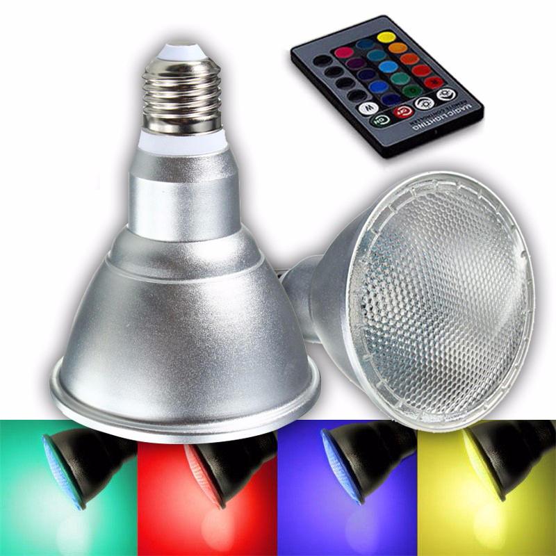 E27 8W Kısılabilir PAR30 RGB LED Lamba Renkli Ampul Spot Taşkın Lamba Uzakdan Kumanda AC85-265V