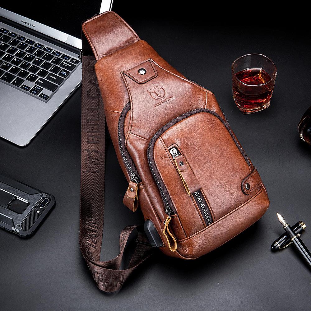 Bullcaptain Genuine Leather Business Casual Chest Bag Shoulder Crossbody Bag