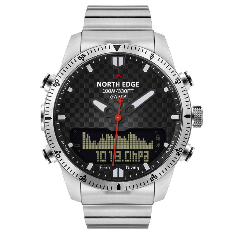 NORTH EDGE Numérique 50M Dive Watches Hommes Altimètre Boussole LED Montre Sport Smart