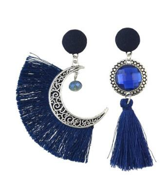 Ethnic Asymmetric Tassel Earring Bohemian Crystal Moon Drop Earrings Dangle Earrings for Women