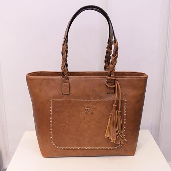 Mulheres Sólida Faux Leather Tassel Tote Bolsa Grande Capacidade Ombro Bolsa Bolsa