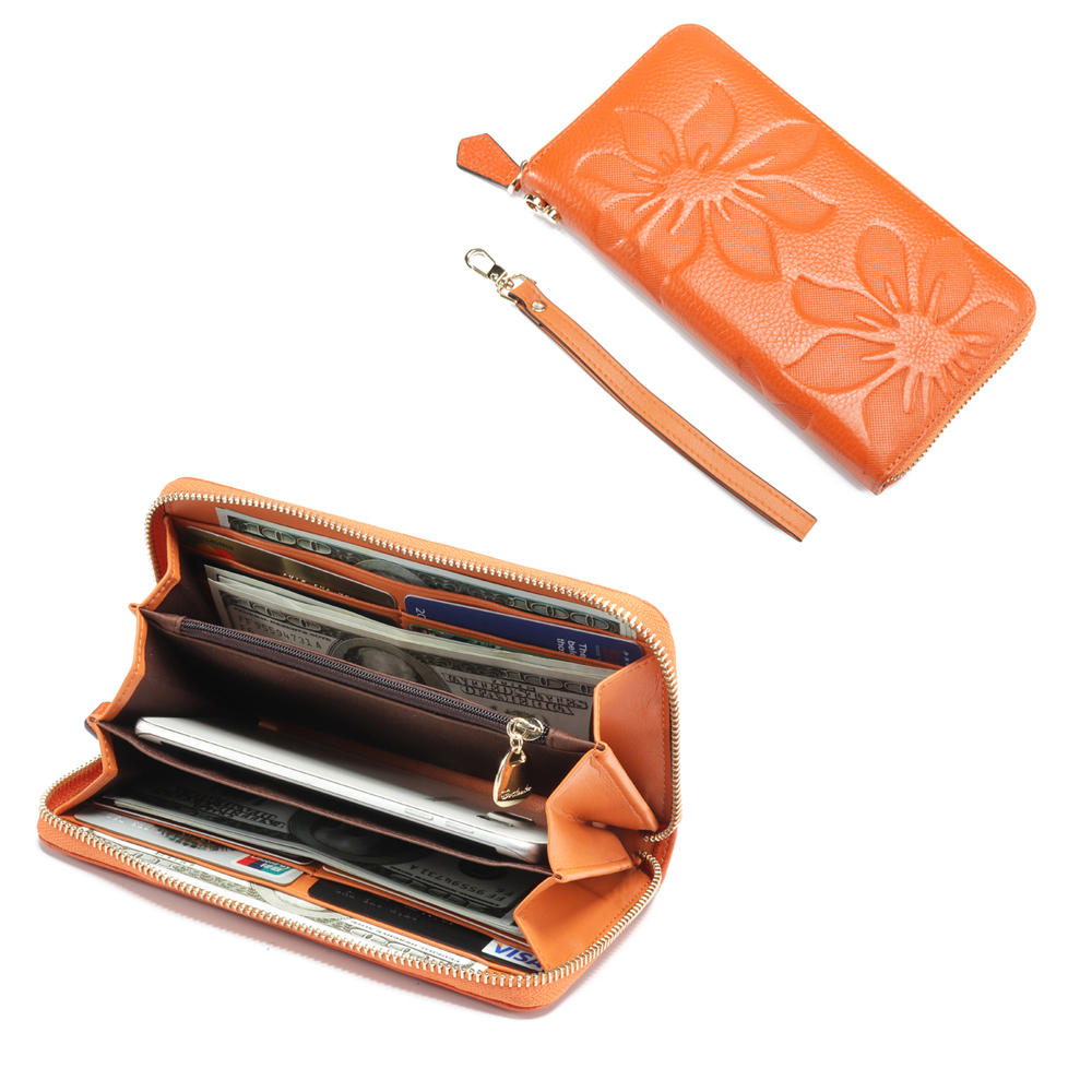 Brenice Fashion Casual Life Wallet With Lightweight Wearable Wallet Large Capacity Embossed Cow Leat