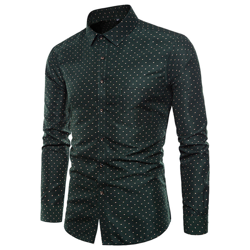 Plus Size Dots Printing Fashion Long Sleeve Button Up camisas para hombres