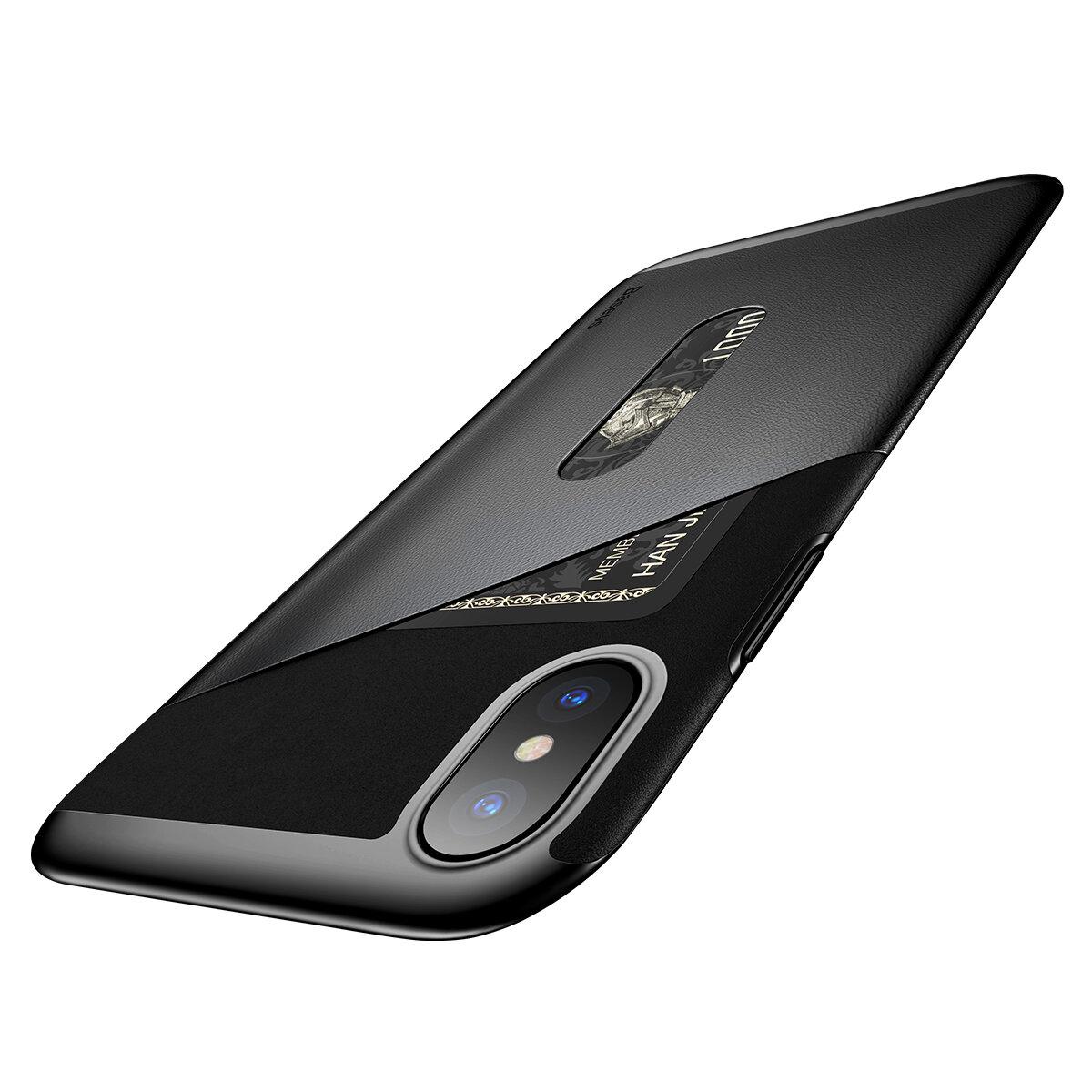 Baseus Card Slot Anti Fingerprint PU Leather TPU PC Case For iPhone X