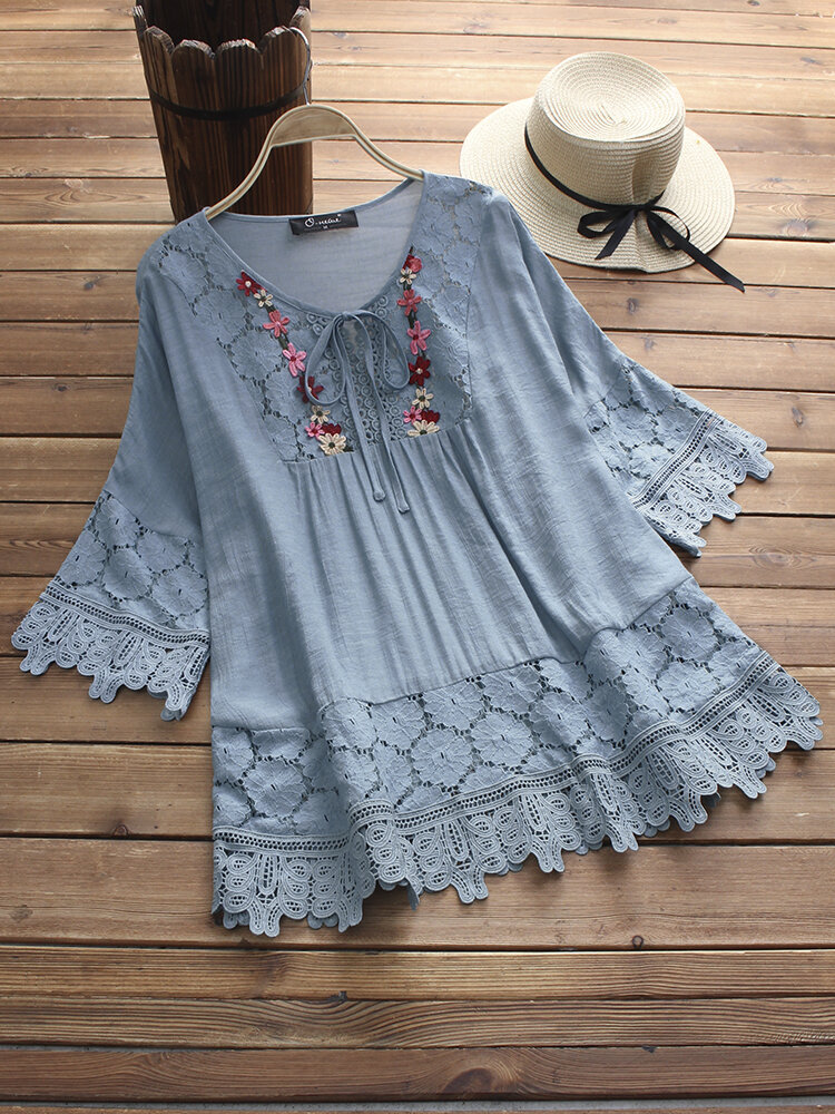Casual Women Hollow Lace Patchwork 3/4 Sleeve Blouse