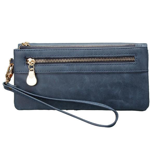 Portafoglio da donna con pochette da donna in pelle doppia cerniera lucida per portafoglio