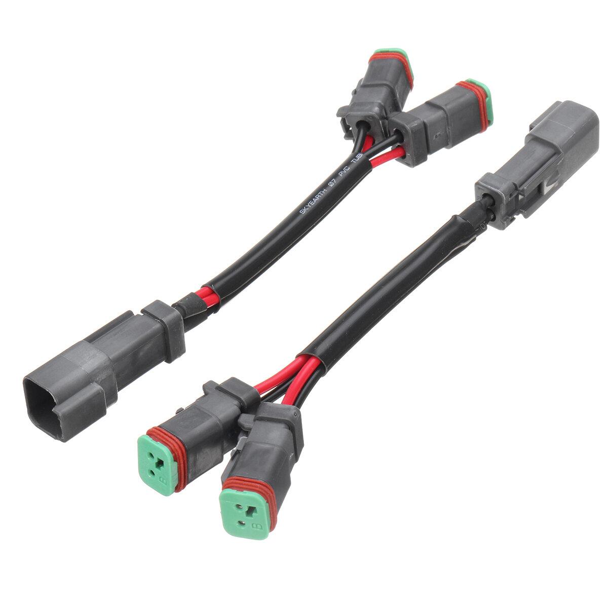 2Pcs Y-Shape Dual Outputs Deutsch DT DTP Adapters Connectors Splitters For LED Fog