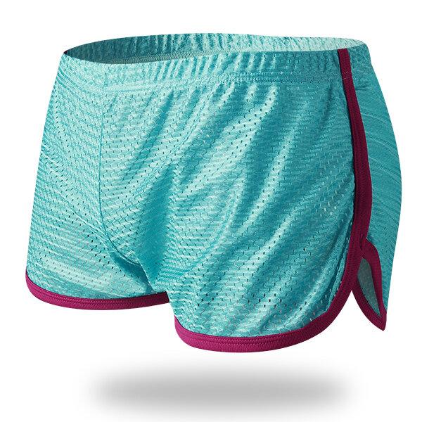 Mens Malha Respirável Esporte Respirável Em Casa Contraste Cor Borda Boxers Shorts Seta Cueca