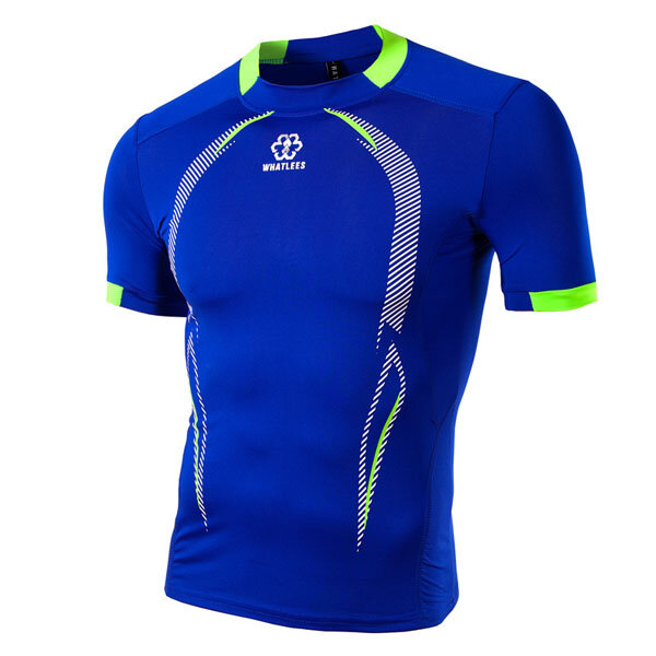 Mens Round Neck Short Sleeve Jersey Slim Tissu à séchage rapide Printed Sports Training Tees