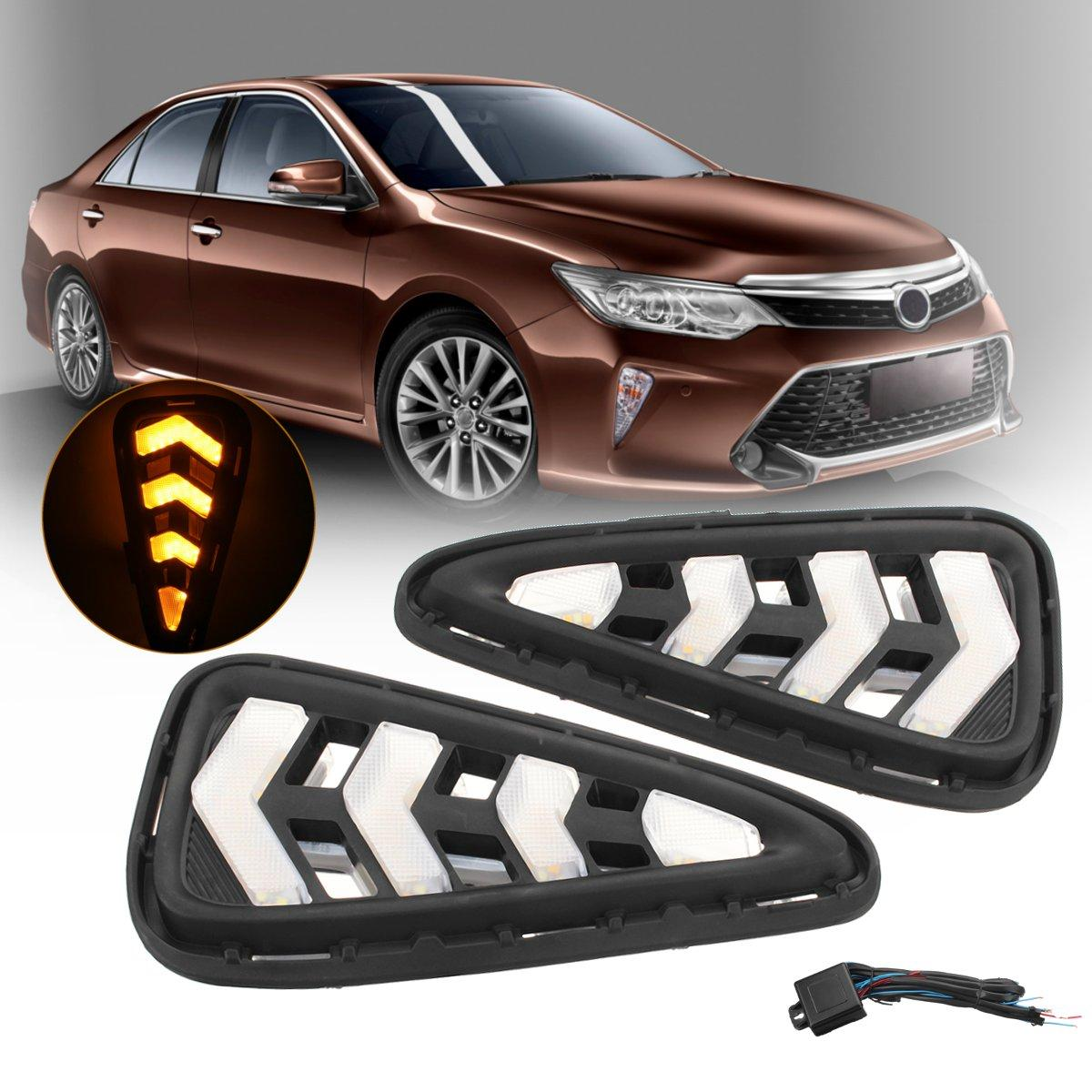 Pair Front Car LED DRL Daytime Running Lights Fog Lights Lamps for Toyota Camry 2015-2017
