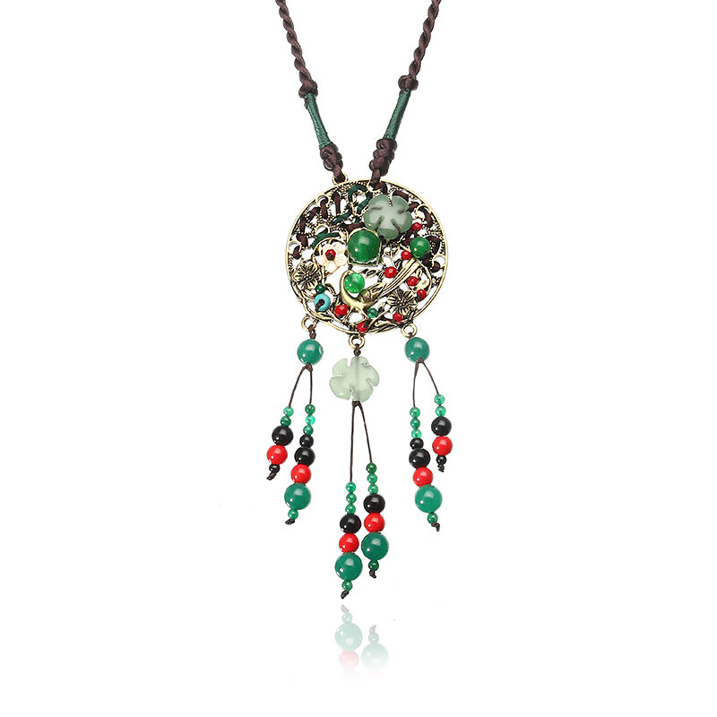 Ethnic Retro Flower Bead Necklace Vintage Rope Jade Tassel Necklace for Women