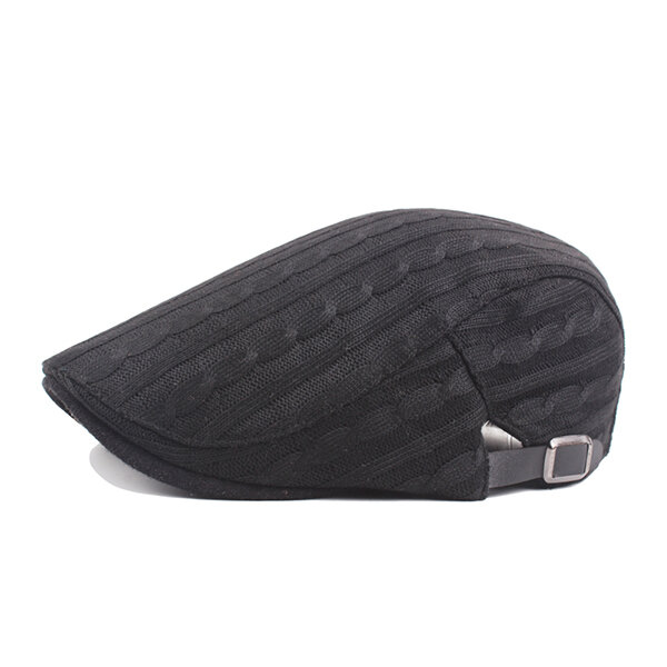 Mens Cotton Gestrickte Warm Beret Cap Buckle Einstellbare Golf Sport Cabbie Forward Hut