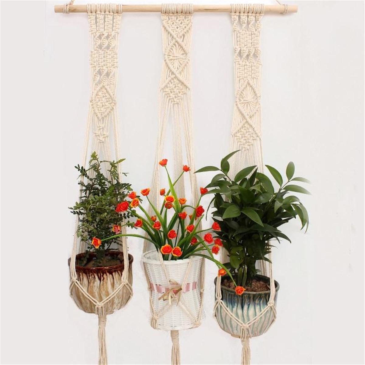 3 Stijl Gevlochten Touw Opknoping Planter Macrame Plant Houder Binnen Buiten Decoraties