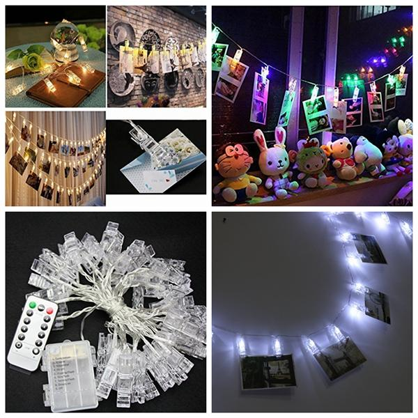 Battery Powered 5M 40LEDs 8 Modes Picture Display Clip Fairy String Light With Remote for Christmas