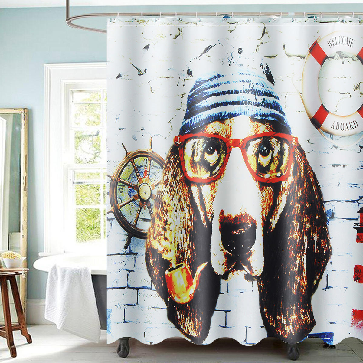 Modern Animal 3D Waterproof Polyester Shower Curtain Dog Octopus Pattern With 12 Plastic Hooks For Bath And Shower