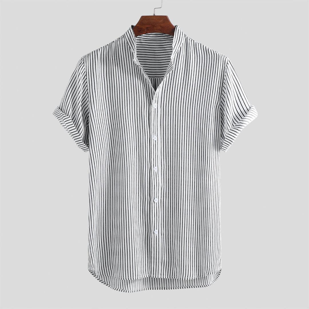 Camisas casuales de manga corta con dobladillo redondo de algodón para hombres
