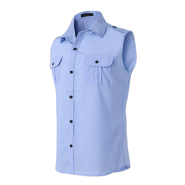 Mens Fashion Casual Solid Color Personality Sleeveless Slim Fit Turn-down Collar Shirt