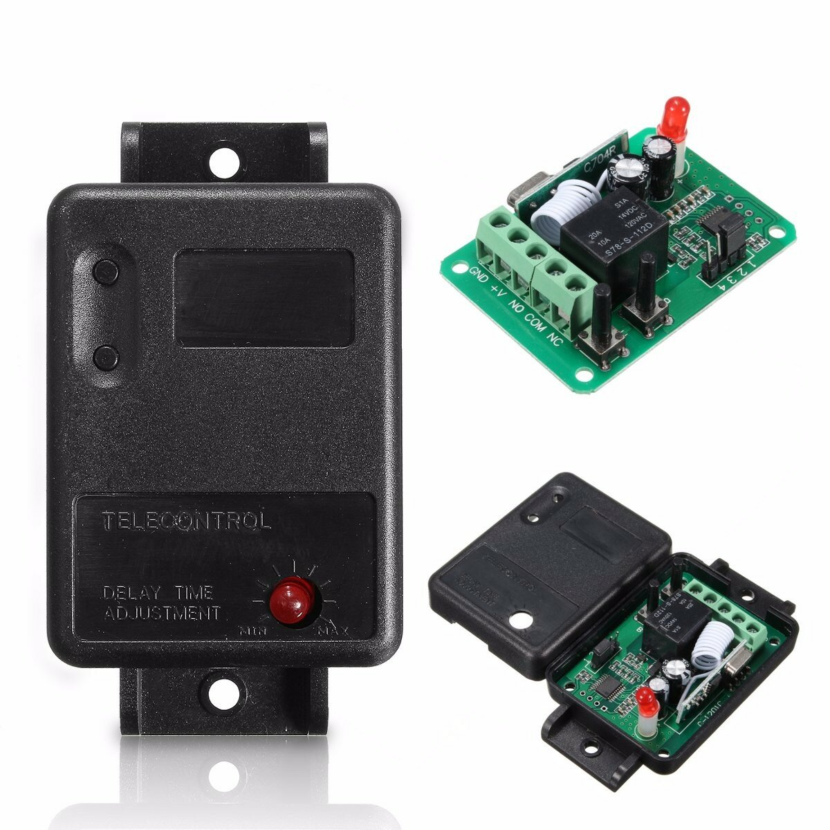 DC12V 1CH 315/433MHz Wireless Time Delay Relay RF Remote Control Switch Receiver