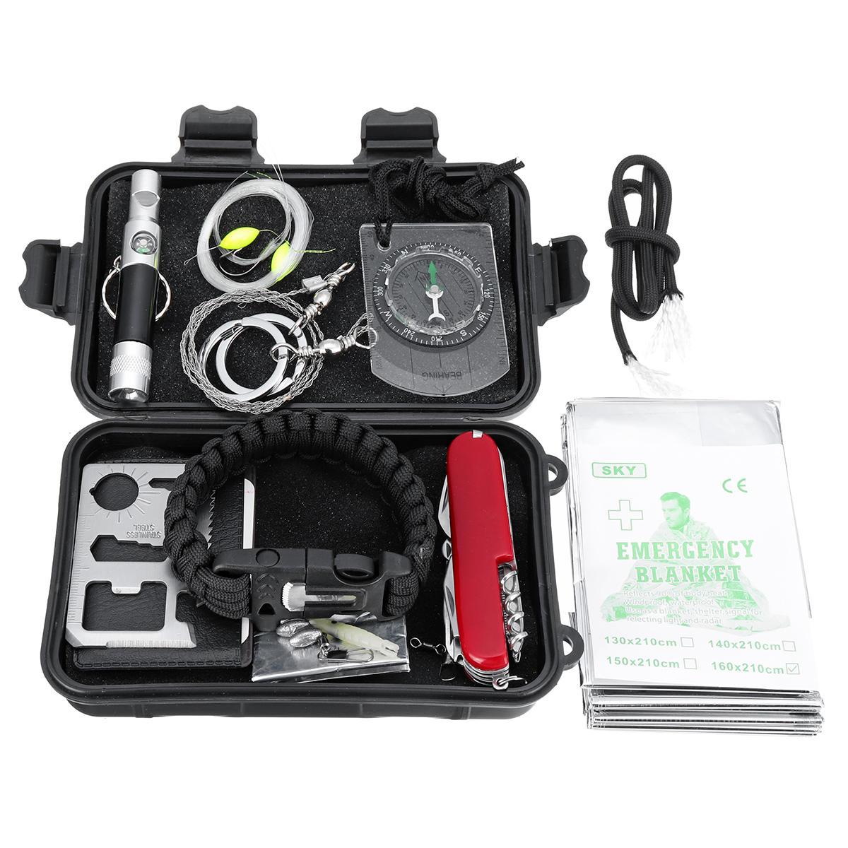 10 1 SOS Acil Survival Ekipmanları Aletler Kit Taktik Av Dişli Aletler Depolama Kutu ile